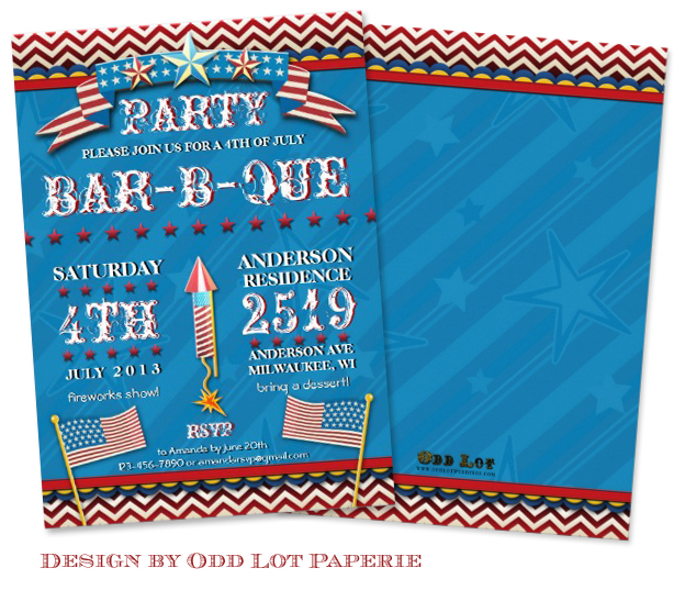4th of July Festive BBQ Party Invitation design by Odd Lot Paperie