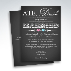 Chalkboard Style Wedding Reception Only Invitations