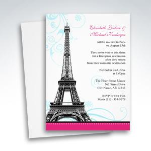 Flourish Eiffel Tower Parisian Reception ONLY Invitations