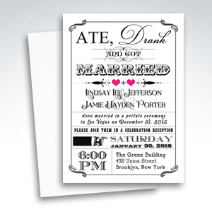 Post-Wedding Invitations - Vintage Poster Chalkboard Scrolls Fuchsia