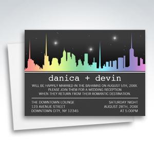 Rainbow City Skyline Reception ONLY Invitations