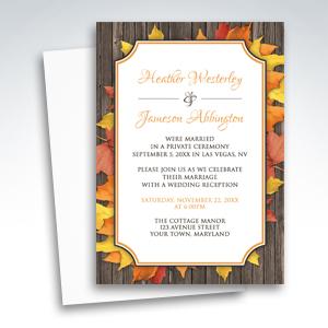 Reception Invitations - Autumn Orange White Wood Leaves
