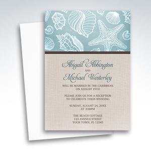 Reception Invitations - Rustic Beach Seashells Linen