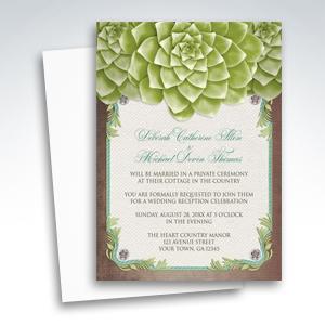 Reception Invitations - Rustic Succulent Garden