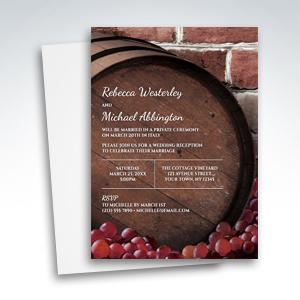 Reception Invitations - Rustic Wine Barrel Vineyard