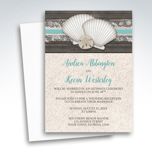 Reception Only Invitations - Beach Seashells Lace Rustic Wood and Sand