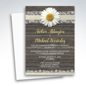 Reception Only Invitations - Daisy Burlap and Lace Wood