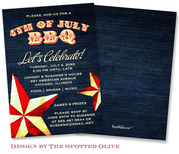 Hipster Stars Denim 4th of July BBQ Invitations design by the Spotted Olive