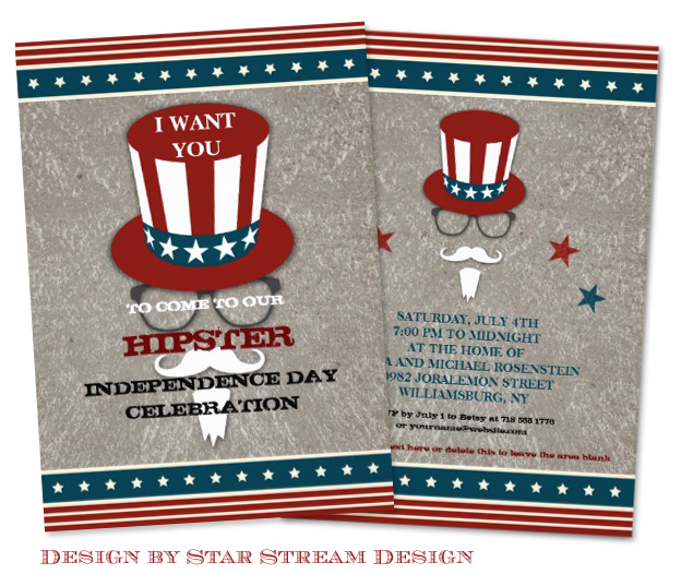 Hipster Uncle Sam Independence Day Party Invitation design by Star Stream Design