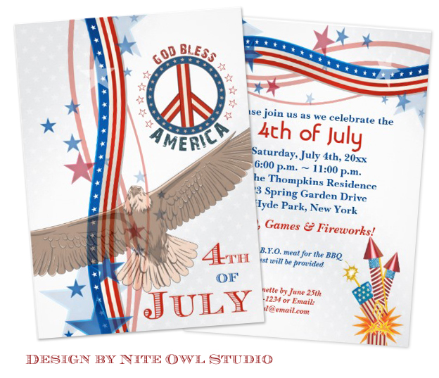 Red White Blue 4th of July Party Invitation design by Nite Owl Studio