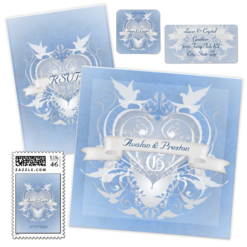 Unique Blue and White Doves and Banner Fairytale Wedding Stationery Set