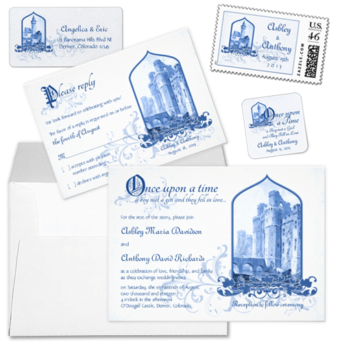 Royal Blue and White Castle Fairytale Wedding Invitations Stationery Set