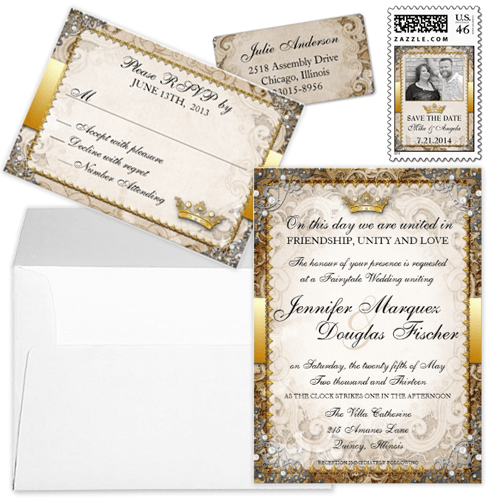 Ornate Gold Crown Fairytale Wedding Invitation Stationery Set