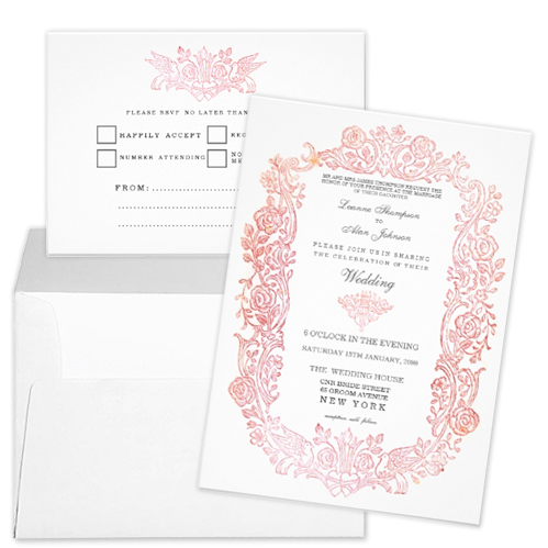 Vintage fairytale birds and flower border wedding invitation and rsvp