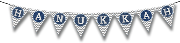 Assembled Blue and Silver Hanukkah Bunting
