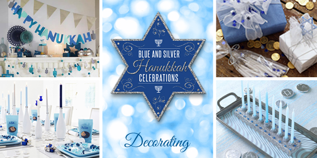 Blue and Silver Hanukkah Party decor