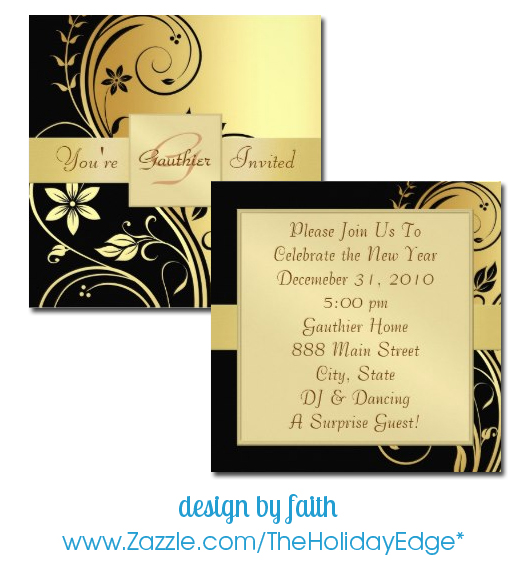 gold black floral new year's eve party invitations