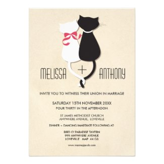 Whimsical Offbeat Cat Couple Wedding Invitation