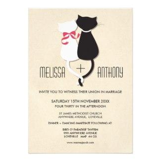 Whimsical Offbeat Cat Couple Wedding Invitation
