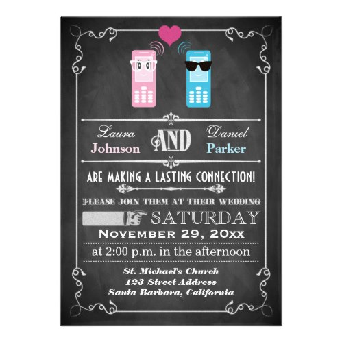 Vintage Chalkboard Smartphone Whimsical Offbeat Wedding Invitation