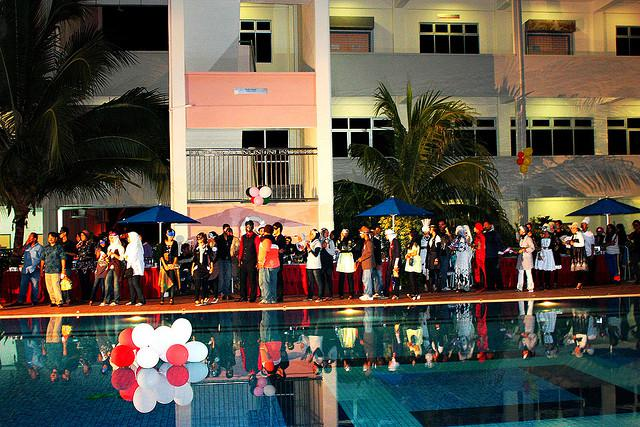 Big party at a pool