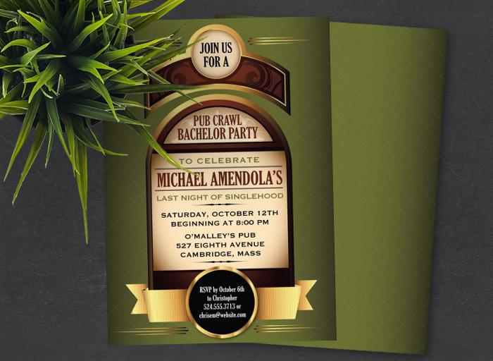 Pub Crawl Bachelor Party Invitations