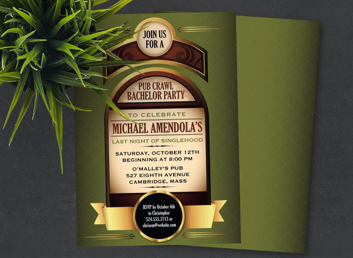 Pub Crawl Bachelor Party Invitations