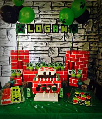 Minecraft food station party idea from Catch my Party