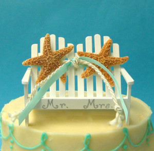 beach chairs starfish mr mrs wedding cake topper