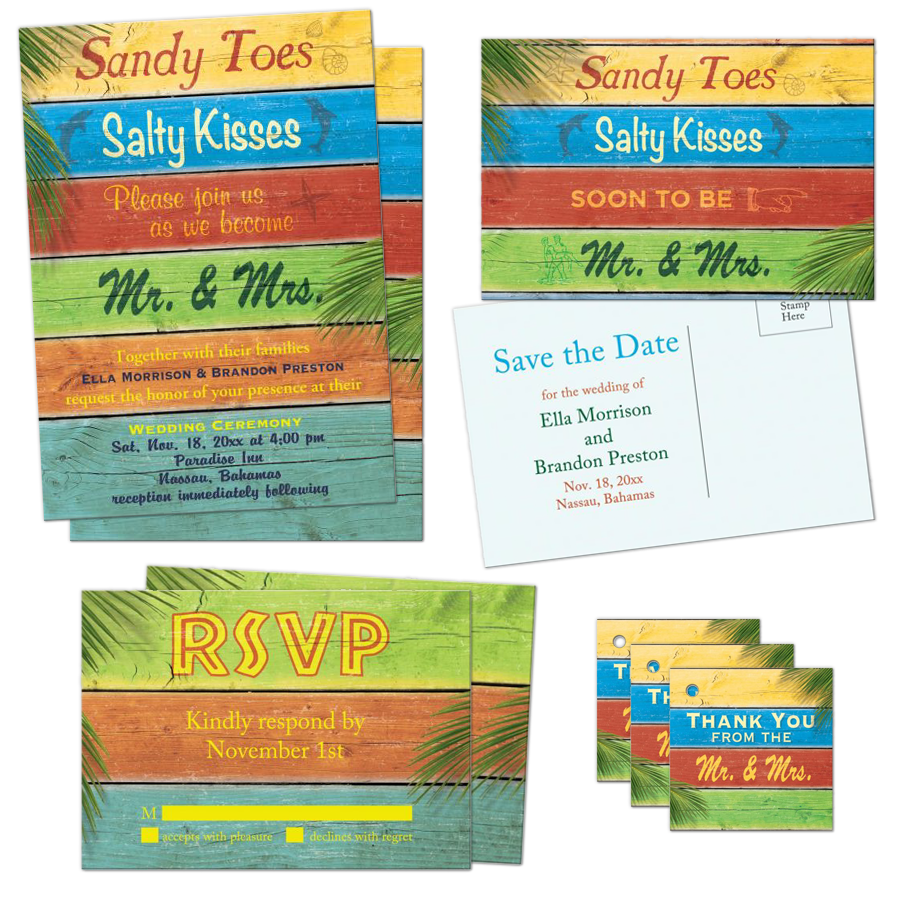 multi colored wooden beach sign sandy toes salty kisses beach wedding invitation set