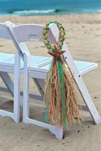 starfish and raffia beach wedding isle decorations