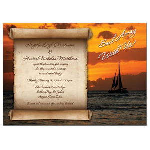 Destination Wedding Invitation Sail Away With Us Sailboat Sunset