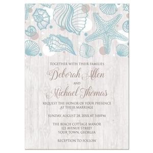 Seashell Whitewashed Wood Beach Wedding Invitations
