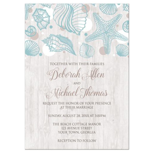 Seashell Whitewashed Wood Beach Wedding Invitations