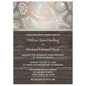 Wedding Invitations - Rustic Wood Beach Seashell