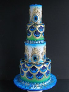 Peacock wedding cake from Cakelava