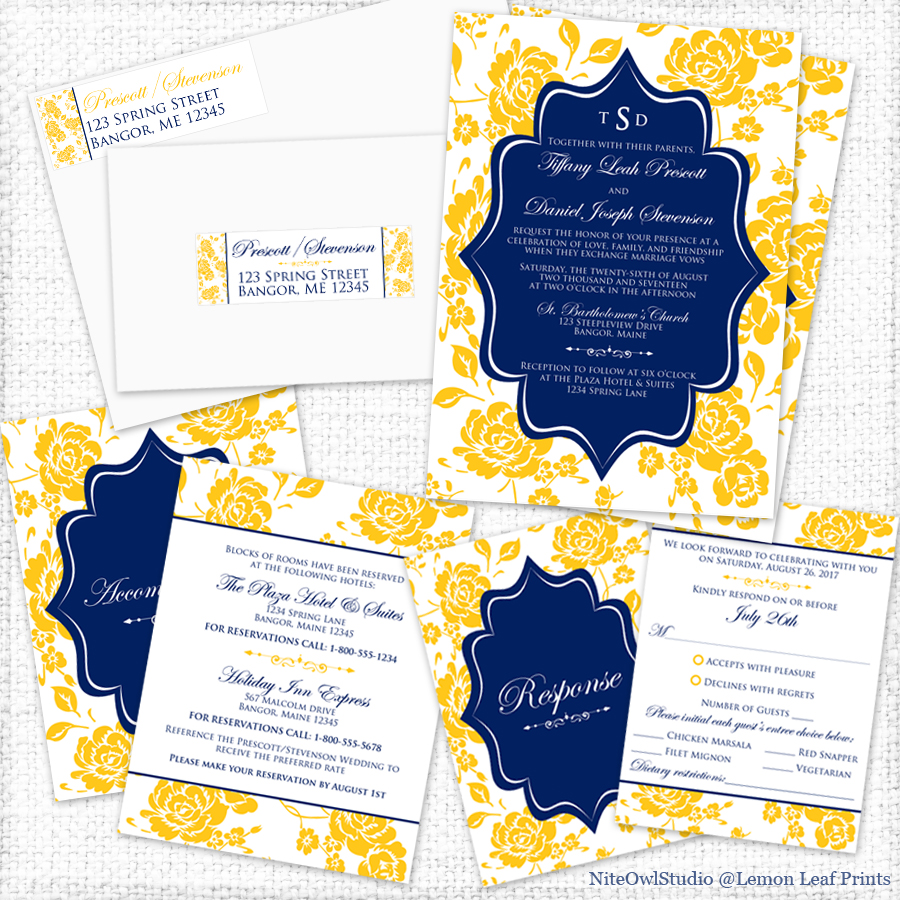 Navy Yellow White Peony Floral wedding Invitation set