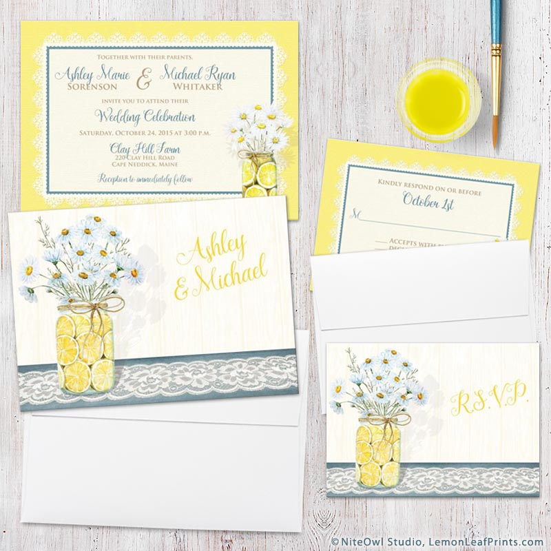 Country daisy lemon and mason jar wedding invitation and rsvp card