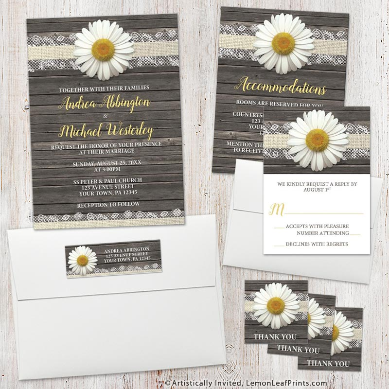 Rustic wood and lace white daisy wedding invitation set