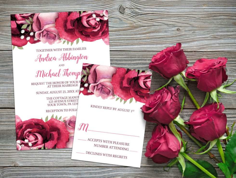 Burgundy Pink Rose Wedding Invitation Set