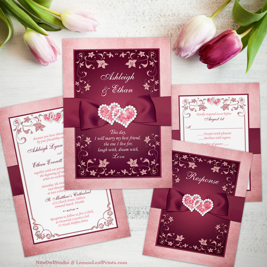 Burgundy rose joined hearts jewel wedding invitation set