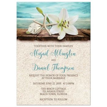 Lily starfish dock sand and beach wedding invitation