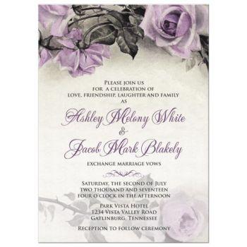 Vintage purple rose wedding invitation