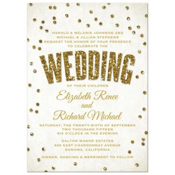 White and gold glitter look confetti wedding invitation