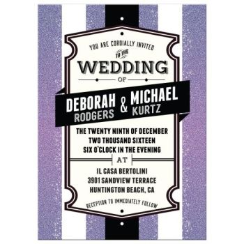 purple black white vintage label wedding invitation