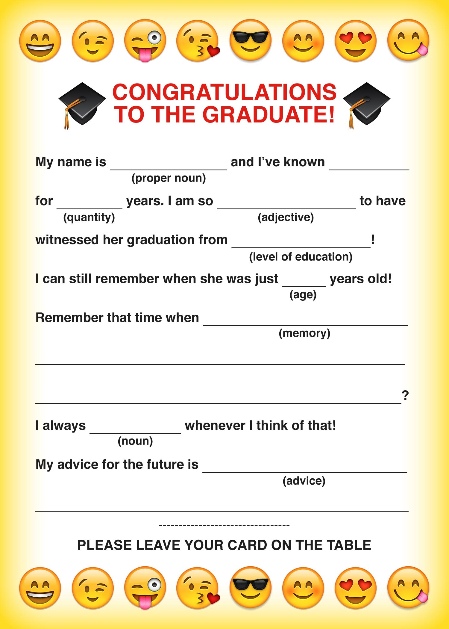 photograph relating to Advice for the Graduate Free Printable referred to as Bash Ease Absolutely free Printable Emoji Commencement Bash Insane