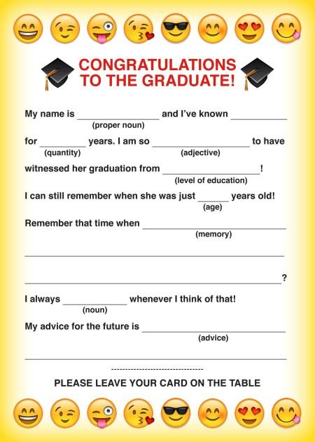emoji free printable graduation mad libs card