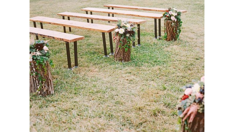 example of boho wedding theme outdoor seating
