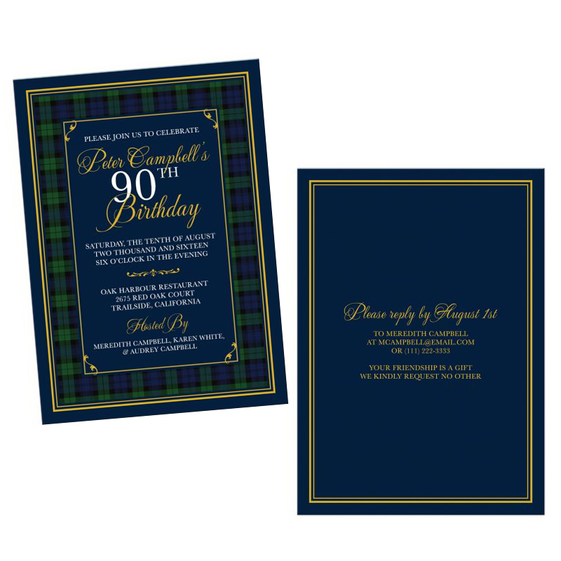 Campbell or Black Watch Tartan 90th Birthday Invitation