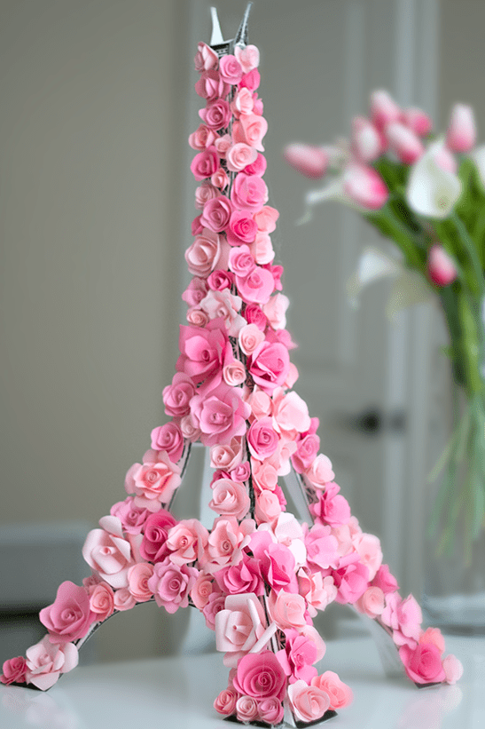 DIY floral eiffel tower centerpiece
